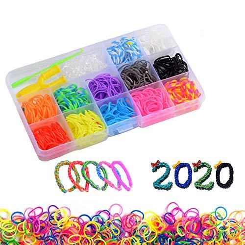 Braccialetti elastici 600 kit elastici per braccialetti Loom Bande ,Bracciale Collana Strumento di Lavoro a Maglia per i Bambini per Fare Gioco Creativo (B)