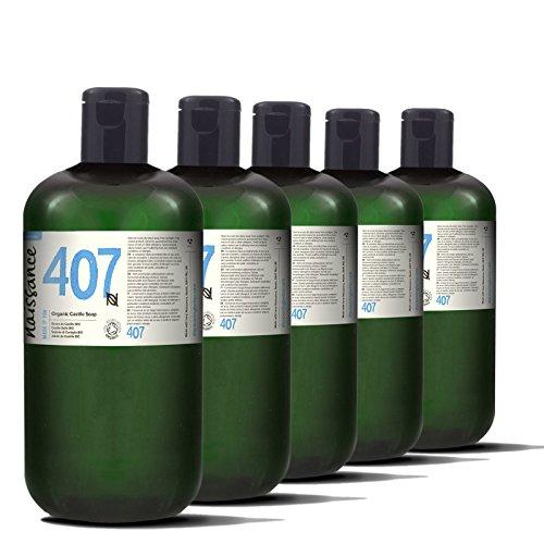 Naissance Sapone di Castiglia liquido certificato biologico senza profumo 5L (5x1Litro)- Privo di SLS e SLES e Vegano