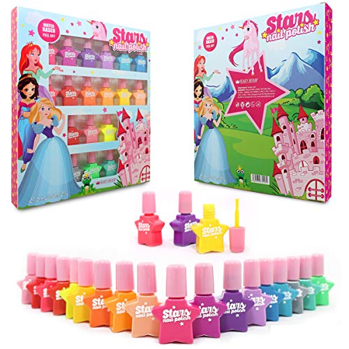 Princess - Set di smalti peel-off per unghie a base d'acqua, 18 flaconi, 18 colori
