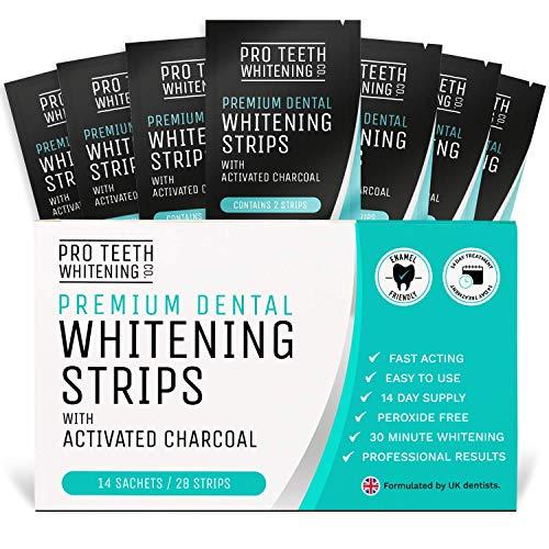 28 Strisce Sbiancanti Denti Professionali Al Carbone Attivo Pro Teeth Whitening - Strisce Sbiancamento Denti Senza Perossido - Rimozione Rapida Macchie Facile Da Usare Sorriso Splendente In 30 Minuti