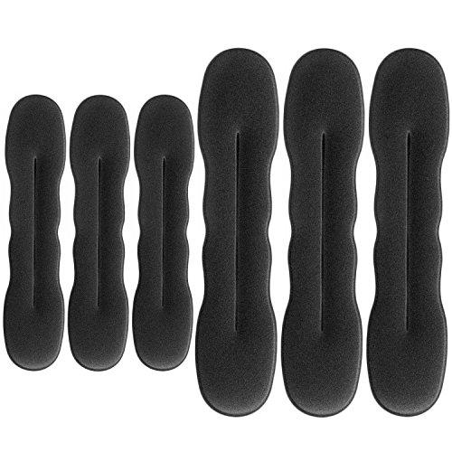 6 Pezzi Creatore di Capelli Creatore del Panino Spugna Clip Capelli Styling Donut Capelli di Panini Twist Curler Donut Strumenti, 3 Grandi e 3 Piccoli (Nero)