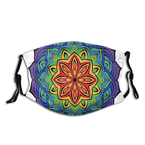 Confortevole maschera a carbone attivo, design mandala colorato con fiore di cannella fiorita orientale, decorazioni facciali stampate per adulti
