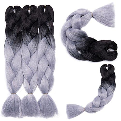 Extension Capelli Braiding Hair Jumbo Braids Ombre Pezzo di Capelli 5 Confezioni / 500g - Ombre Da nero a grigio argento