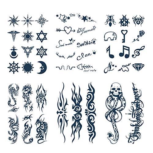 Konsait Tatuaggi Temporanei Adulti Donne Uomo Bambini, Impermeabili Tatuaggio Temporaneo Nero tatuaggio adesivi, durata 15 giorni