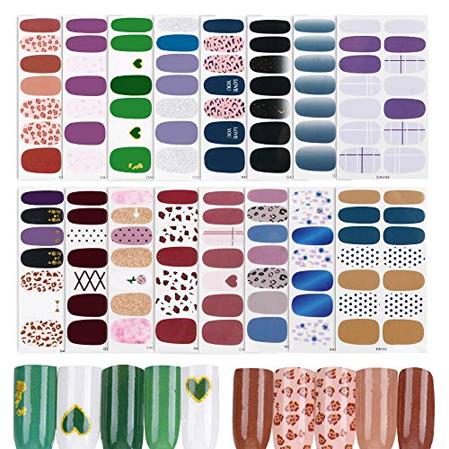 FLOFIA 16 Fogli Adesivi Unghie Nail Art Copertura Completa Nail Stickers Full Cover Adesivi per Unghie Decalcomanie Autoadesivi Unghie Copertura per Decorazioni Unghie Fai da Te