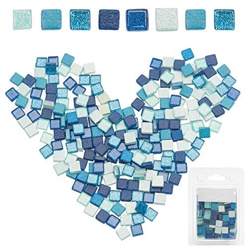 Gorgecraft, 220 mattonelle di mosaico in vetro glitterato a mosaico di colori misti, pietra quadrata per il fai da te, progetti artigianali, decorazione fatta a mano