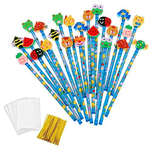 JZK Set 24 blu grafite matita in legno con gomma bomboniera regalino per festa bambini compleanno battesimo comunione regalo compleanno Natale per bambino