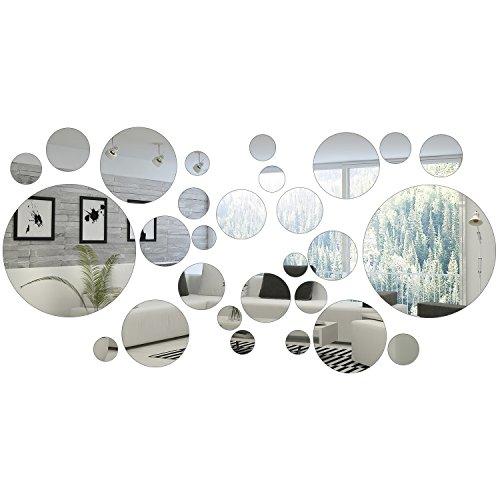 32 Pezzi Rotondo Cerchio Specchio Adesivo Parete Specchio Decal Casa Decorazione