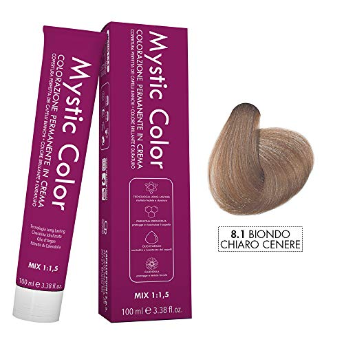 Mystic Color - Colore Biondo Chiaro Cenere 8.1 - Tinta per Capelli - Colorazione Professionale in Crema a Lunga Durata - Con Cheratina Idrolizzata, Olio di Argan e Calendula - 100 ml