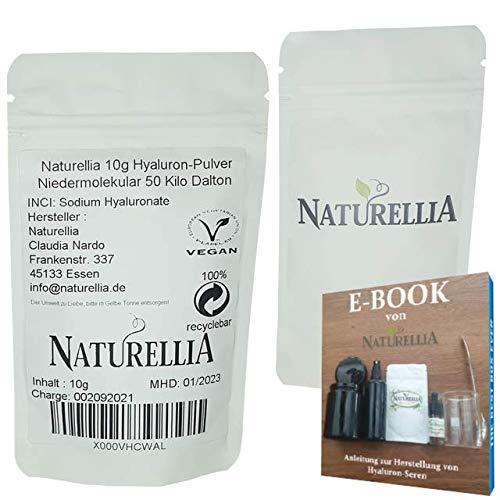 Naturellia Acido Ialuronico Polvere 10 Grammi 50 Kilo-Dalton Altamente Concentrato - Basso Peso Molecolare per Effetto Profondo per Solo Mescolarsi Una Crema Anti-Etá a Casa