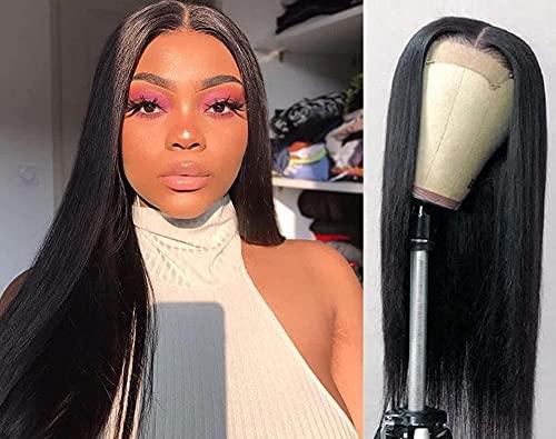 TOOCCI Parrucca donna capelli veri umani 4x4 Machine Made lace front wig parrucca nera liscia human hair wigs straight (16inch)