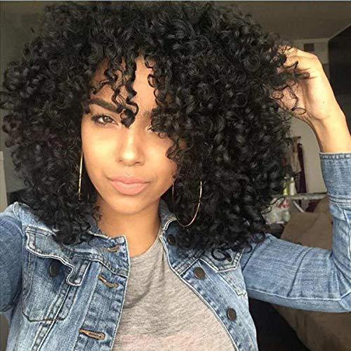 Parrucche afro ricci crespi per donne parrucche ricce corte ricce naturali ricce nere con frangia