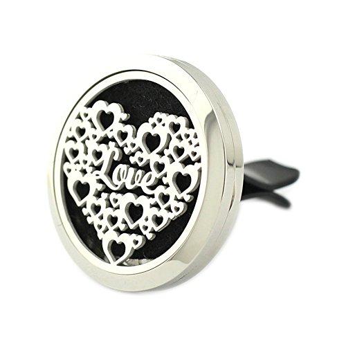 Jenia - Deodorante per auto, in acciaio inox, per aromaterapia, diffusore di oli essenziali, con clip di sfiato, 35 mm e Acciaio inossidabile, colore: Cuore, cod. C35L027031