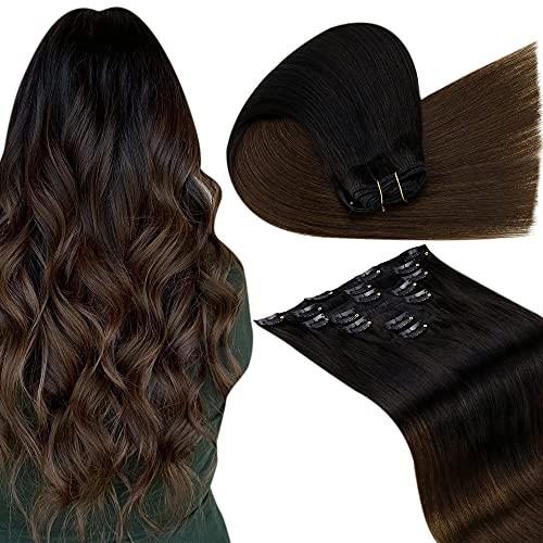 LaaVoo Extensions Clip Naturali Capelli Veri 16 Pollici/40cm Clip Capelli Remy Human Hair Extensions Clip in Nero Naturale Ombre Marrone Scuro #1B/4 7 Pezzo/Pacchetto 100 Grammi