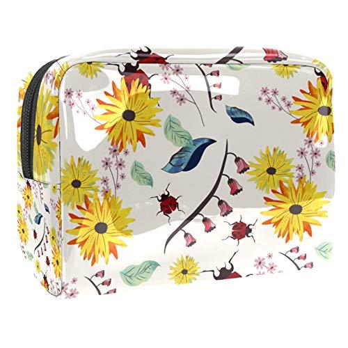 Borsa da Trucco Coccinella fiori gialli Borsa da Toilette Borsa Pochette Cosmetica Beauty Case da Viaggio per donne e ragazze,Multifunzionale Impermeabile 18.5x7.5x13cm