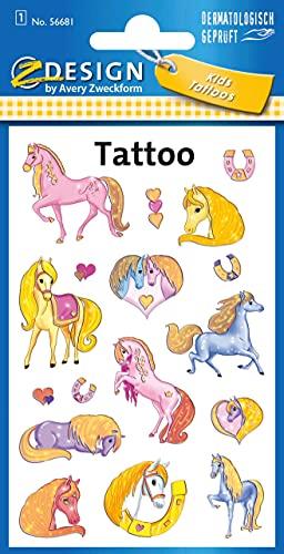 Avery Zweckform 56390 Tatuaggi temporanei per bambini, Design Cavallo, 1 foglio x 10 pezzi Designs Cavallo