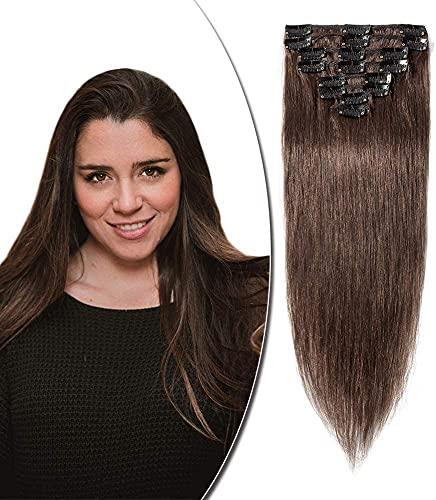 Rich Choices Clip Extension Capelli Veri con Mollette 8 Fasce Human Hair Extension Clip Capelli Veri Umani Brasiliani Lunga 30cm Pesa 55g, #4 Marrone Cioccolato