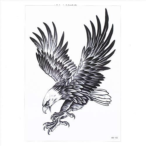 Tatuaggi Tatoo Temporanei nero tatuaggio per la spalla del braccio posteriore della gamba HB105 Adesivi per corponero - aquila