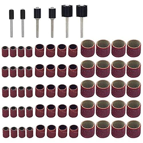 Set di 66 levigatrici a tamburo, con 60 fasce abrasive e 6 mandrini a tamburo, viola e nero.