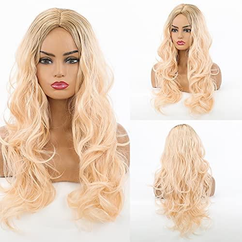 HAIRCUBE Parrucca bionda lunga Parrucche a onda naturale per le donne Parrucche sintetiche con taglio medio a radice scura Parrucche sintetiche per feste o uso quotidiano