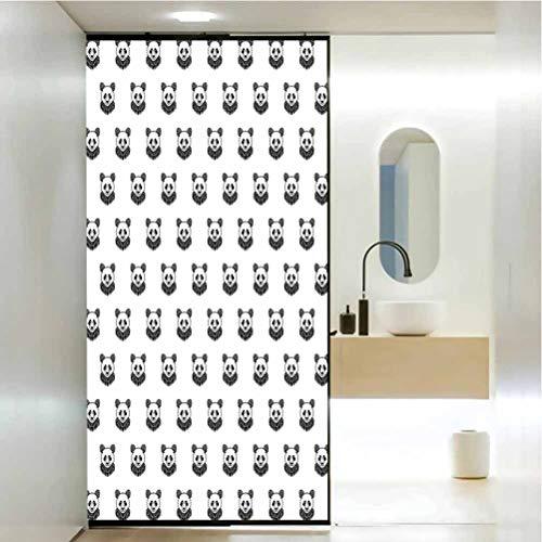 Pellicola autoadesiva statica per finestra da bagno, tatuaggio stilizzato Panda orso ritratti carini mascotte Patt, soggiorno camera da letto cucina ingresso portico ufficio W60 x H47,2 pollici