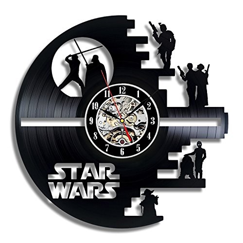 Vinyl Evolution Star Wars Death Star Progettato LP Record Orologio da parete -Decorate la vostra casa con Modern Large Darth Vader Classic Vintage Art -Gift Idea for Men Friend and Boy