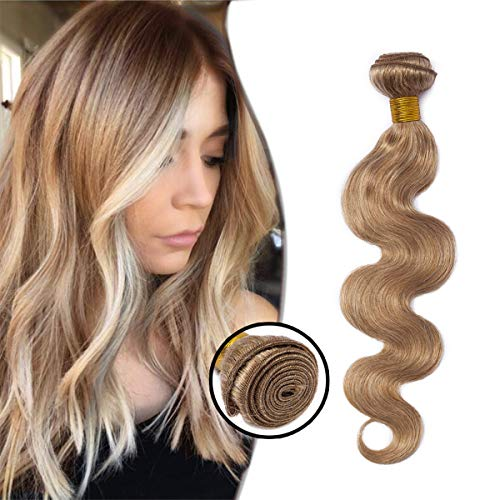 Elailite Extension Capelli Veri Tessitura Matassa Ricci Mossi Naturali Biondi 40cm 100g Unprocessed Virgin Human Hair 1 bundle #27 Biondo Scuro