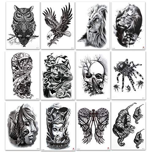 12 fogli di tatuaggi temporanei per uomo e donna, leone, tigre, animali, gufo, donna, morte, teschio, impermeabile, nero, tatuaggio temporaneo, per carnevale