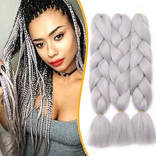 60cm-Treccine Africane Extension 3 Pezzi Capelli Finti per Treccia Extension Trecce Lunghe Braiding Hair–Grigio Chiaro
