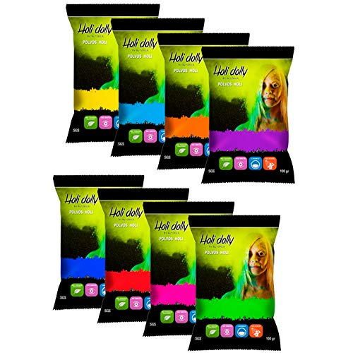 Polveri Holi - 8 sacchetti da 100 g - Polvere Colorata per Feste