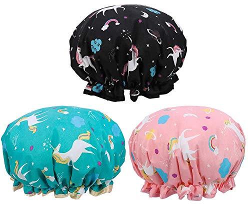 Jieddey Cuffia da Doccia Unicorno,3 PCS Cappello da Doccia Donna Cuffie da Bagno Impermeabili a Doppio Strato Cappello da Doccia Riutilizzabile con F1ascia Elastica per Ragazze Donne