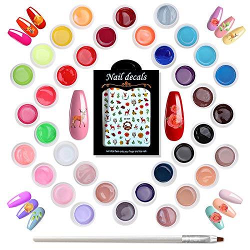 Holady 36 Colori Gel Unghie UV, Set di Smalti Semipermanenti per Unghie in Gel UV LED, Perfetto per i Principianti, Contiene Un Adesivo Per Unghie