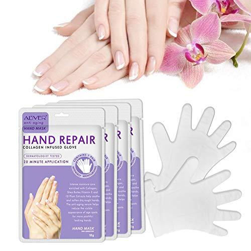 4 Paia Maschera per Mani Guanti Idratanti per la Cura delle Mani Maschera Esfoliante Rigenerante Nutriente per Invecchiamento a Secco e Mani Screpolate