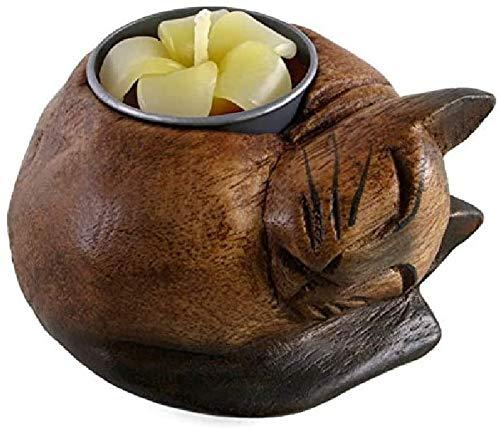 Candela profumata fatta a mano con candelabro in legno Tealight con gatto fatto a mano, regalo incluso per un amante dei gatti