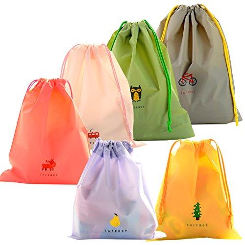 6 Pcs Borse Impermeabile Sacca da Ginnastica, EASEHOME Sacchetti Plastica Sacche Sportive per Palestra Borsa Da Viaggio Zainetto Scarpe Scuola Stoffa per Bambini Adulti