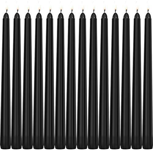 Tobeape Candele coniche nere di Halloween, 14 candele senza profumo, 10 pollici di altezza, 3/4 di pollice di spessore - 7,5 ore di combustione