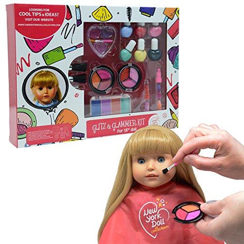 The New York Doll Collection Trucco Lavabile Set - per Moda Ragazza Bambole e Bambini - Finta Giocare Cosmetico Set Include Carichi di Accessori - Set da Gioco per Bambole - Accessori per Il Trucco