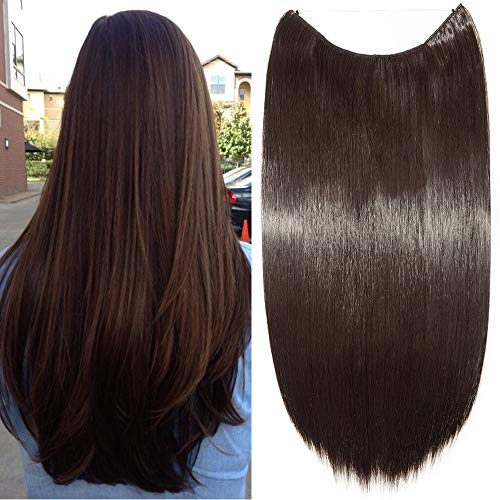 Elailite Capelli Extension con Filo Invisibile 60cm Capelli Lunghi Lisci Fascia Unica Hair Extensions 3/4 Full Head, Marrone Scuro