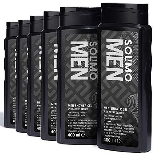 Marchio Amazon - Solimo Gel doccia uomo con carbone attivo-Confezione da 6 (6 flaconi x 400 ml)