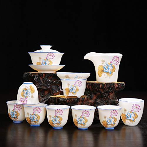 QCCOKNN Completo da tè in Porcellana con Guscio d'uovo Set di Fagioli Fagiolini Porcellana Bianca Smaltata Kungfu Online Un Set Completo tè in Ceramica