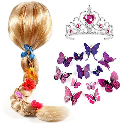 Tacobear Principessa Rapunzel Parrucca Treccia con Principessa Diadema e Farfalla Spilla Principessa Rapunzel Sofia Vestito Accessori per Bambini Ragazza
