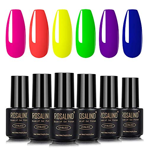 ROSALIND Semipermanente per Unghie Manicure Arte Set Kit 6 Colori Soak Off UV LED Smalto Semipermanente Set 7ML