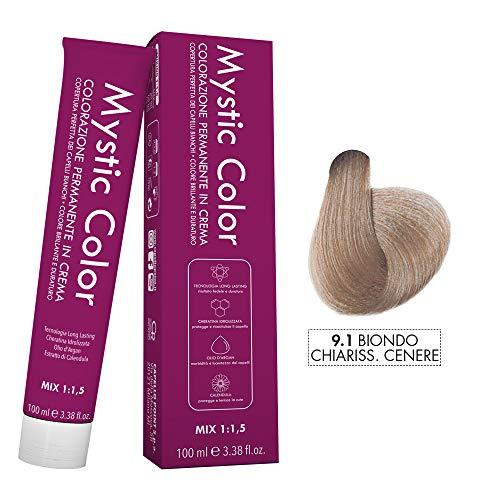 Mystic Color - Colore Biondo Chiarissimo Cenere 9.1 - Tinta per Capelli - Colorazione Professionale in Crema a Lunga Durata - Con Cheratina Idrolizzata, Olio di Argan e Calendula - 100 ml