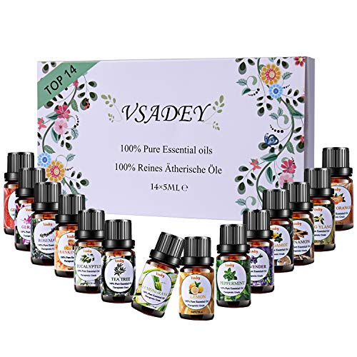 VSADEY Oli Essenziali di Aromaterapia Top 14 Olio Essenziale per Diffusori di Alta Qualità Naturale 100% Puri e Naturale per la Sauna,Umidificatore, Massaggio Scatola Set Regalo Ideale