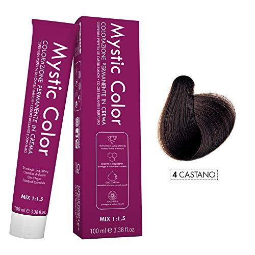 Mystic Color - Colore Castano 4 - Tinta per Capelli - Colorazione Professionale in Crema a Lunga Durata - Con Cheratina Idrolizzata, Olio di Argan e Calendula - 100 ml