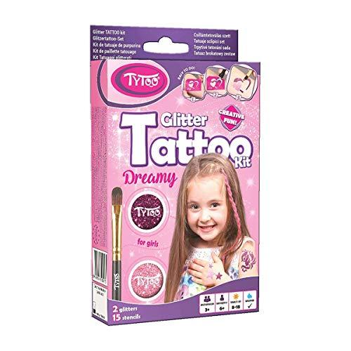 Kit di 15 tatuaggi glitterati per ragazze con sagoma - sicuro, dura 8-18 giorni