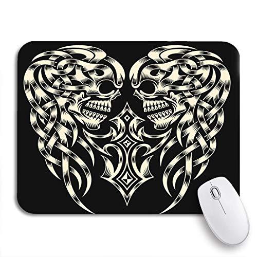 N\A Tappetino per Mouse da Gioco Tatuaggio Ornato Cranio Croce Crocifisso Celtico Scheletro Tribale Nero Antiscivolo Supporto in Gomma Mousepad per Notebook Tappetini per Mouse