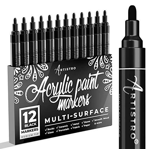 Pennarello nero per legno, vetro, tela, rocce, tessuto Set di penne acriliche nere con punta media, 12 pennarelli.