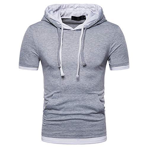 Cappuccio T-Shirt Uomo semplicità Moda Splicing Estiva Uomo Sportiva Shirt Moderna Slim Fit Elasticizzata Allacciatura Manica Corta All'Aperto Casual Jogging Uomo Shirt B-Gray(A) S