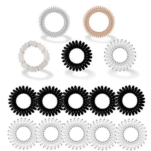Uni-Fine 15 Pezzi Elastici per Capelli a Spirale, Capelli Mituso Gomma (Spirale plastica), Elastico per Capelli Anello, Legami a Spirale per Capelli, Cavo telefonico, Elastica, di Colore